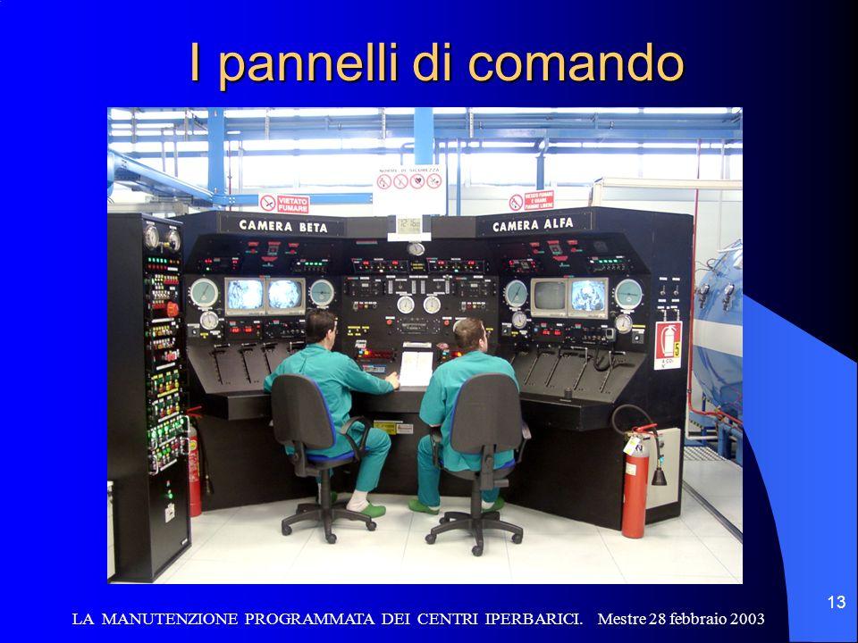 I pannelli di comando LA MANUTENZIONE PROGRAMMATA DEI CENTRI IPERBARICI.