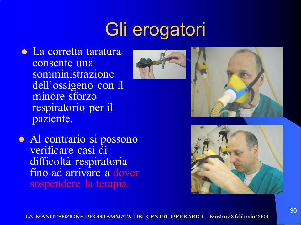 Gli erogatori La corretta taratura consente una somministrazione dell'ossigeno con il minore sforzo respiratorio per il paziente.