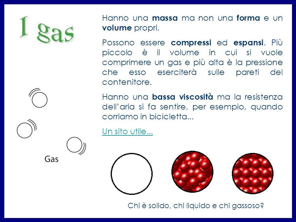 I gas Hanno una massa ma non una forma e un volume propri.