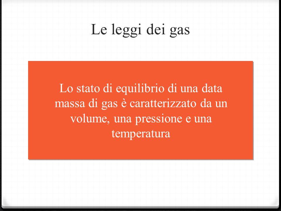 Le leggi dei gas Lo stato di equilibrio di una data massa di gas è caratterizzato da un volume, una pressione e una temperatura.