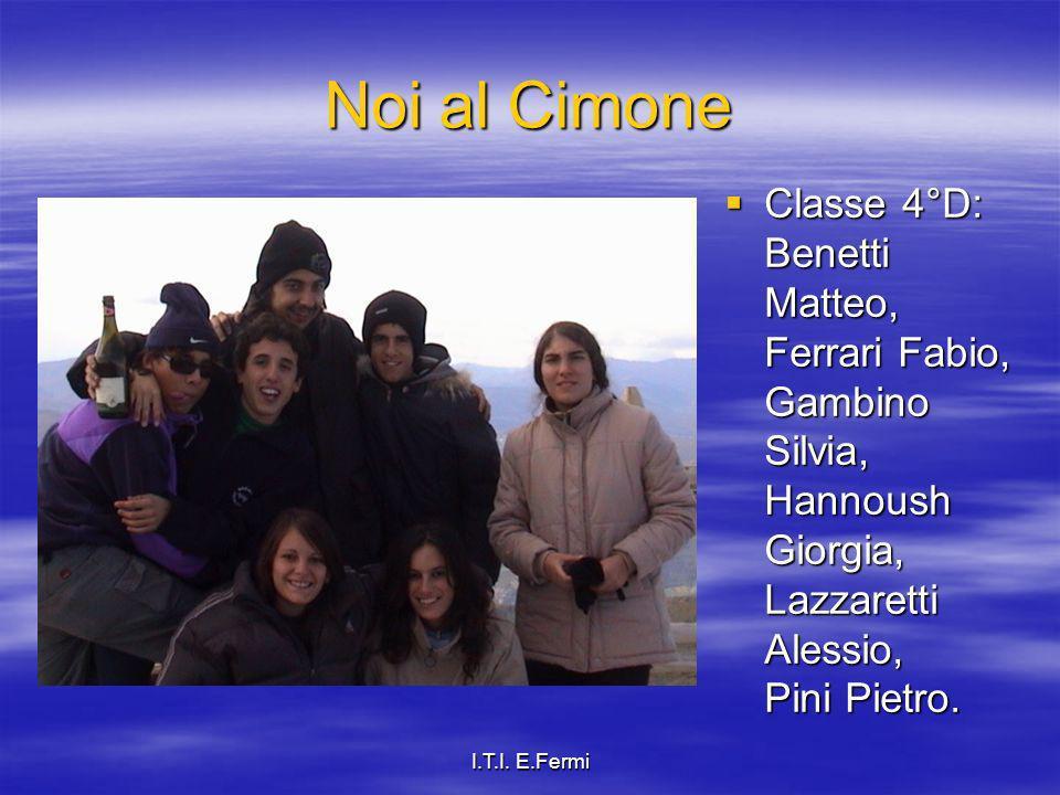 Noi al Cimone Classe 4°D: Benetti Matteo, Ferrari Fabio, Gambino Silvia, Hannoush Giorgia, Lazzaretti Alessio, Pini Pietro.