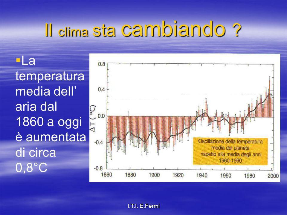 Il clima sta cambiando La temperatura media dell' aria dal 1860 a oggi è aumentata di circa 0,8°C.
