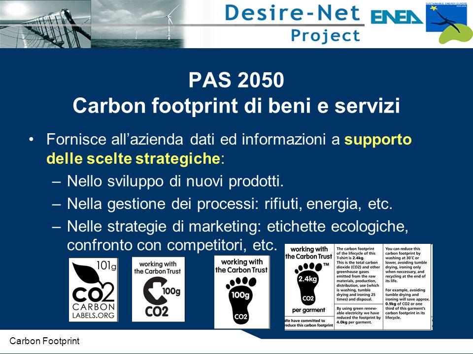 PAS 2050 Carbon footprint di beni e servizi