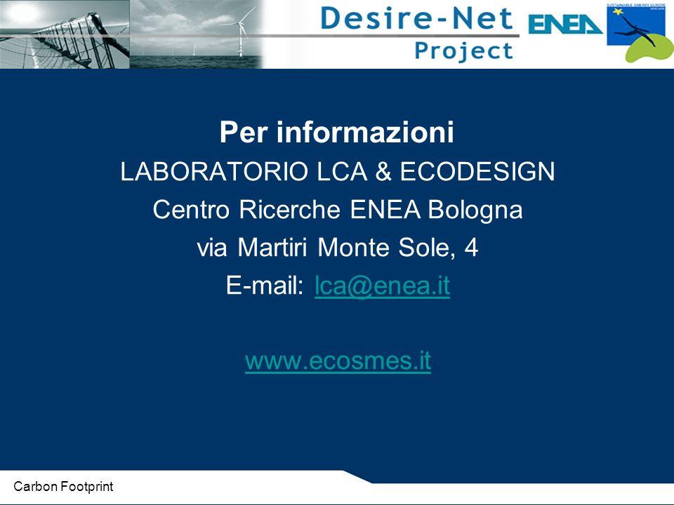 Per informazioni LABORATORIO LCA & ECODESIGN