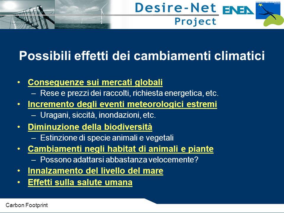Possibili effetti dei cambiamenti climatici