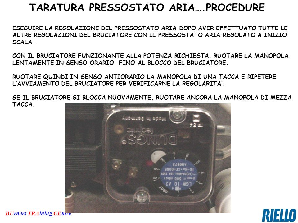 TARATURA PRESSOSTATO ARIA….PROCEDURE