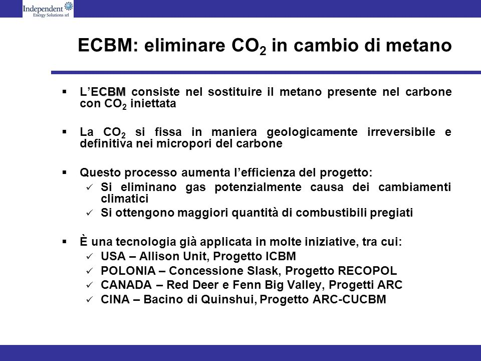 ECBM: eliminare CO2 in cambio di metano