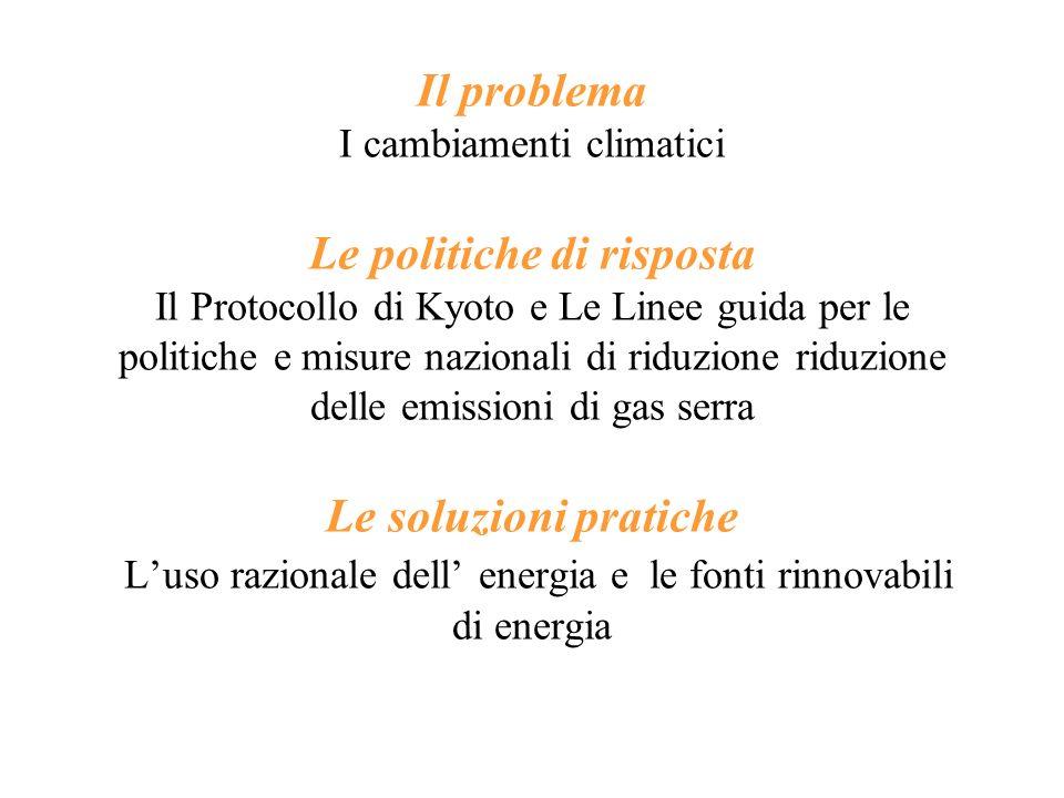 Il problema I cambiamenti climatici Le politiche di risposta Il Protocollo di Kyoto e Le Linee guida per le politiche e misure nazionali di riduzione riduzione delle emissioni di gas serra Le soluzioni pratiche L'uso razionale dell' energia e le fonti rinnovabili di energia
