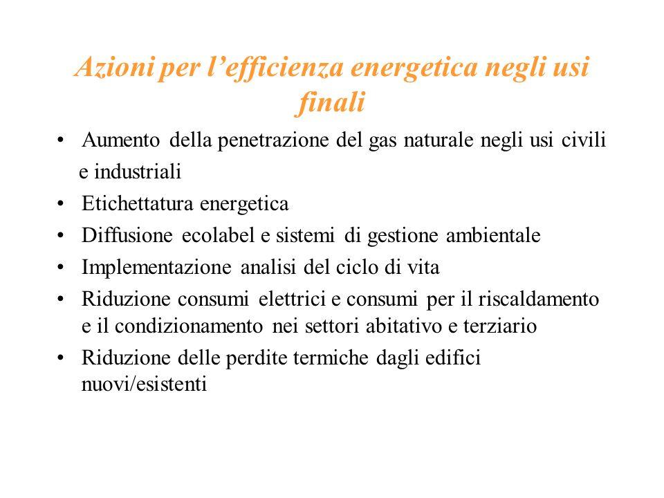 Azioni per l'efficienza energetica negli usi finali