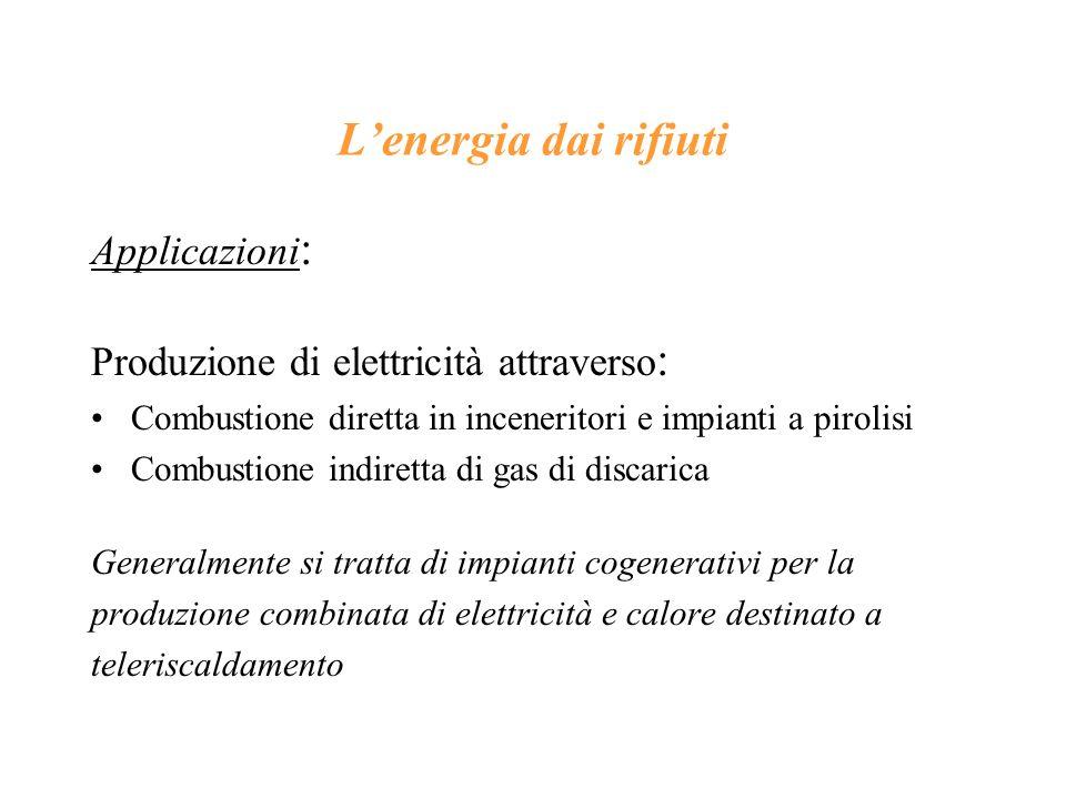 L'energia dai rifiuti Applicazioni: