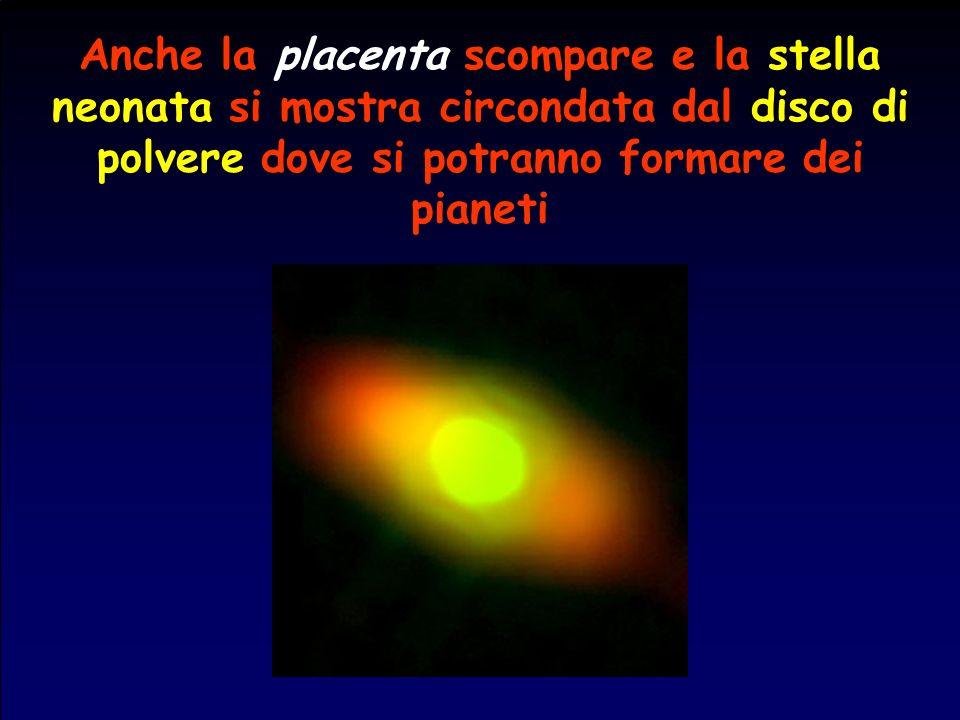Anche la placenta scompare e la stella neonata si mostra circondata dal disco di polvere dove si potranno formare dei pianeti