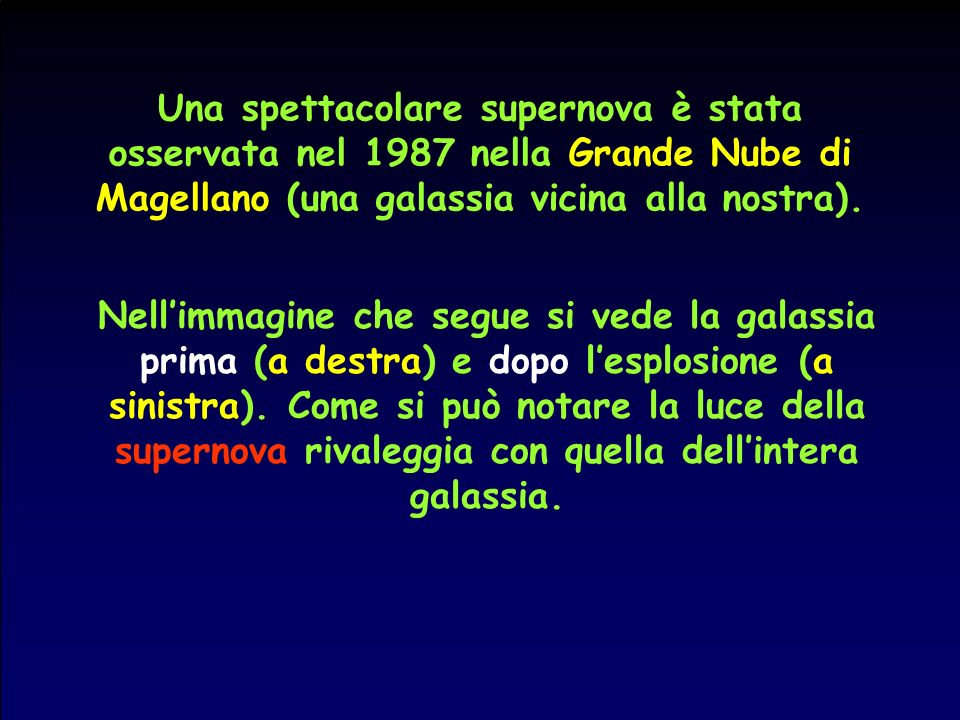 Una spettacolare supernova è stata osservata nel 1987 nella Grande Nube di Magellano (una galassia vicina alla nostra).