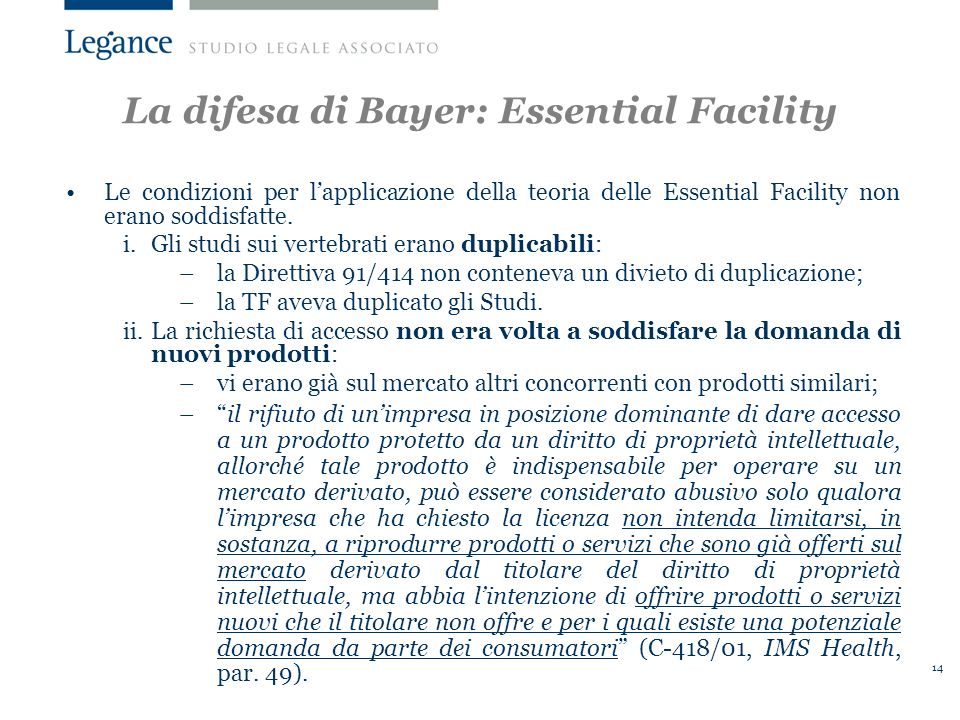 La difesa di Bayer: Essential Facility