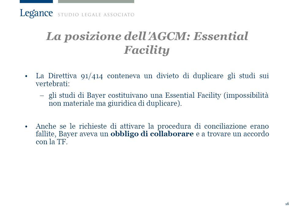 La posizione dell'AGCM: Essential Facility