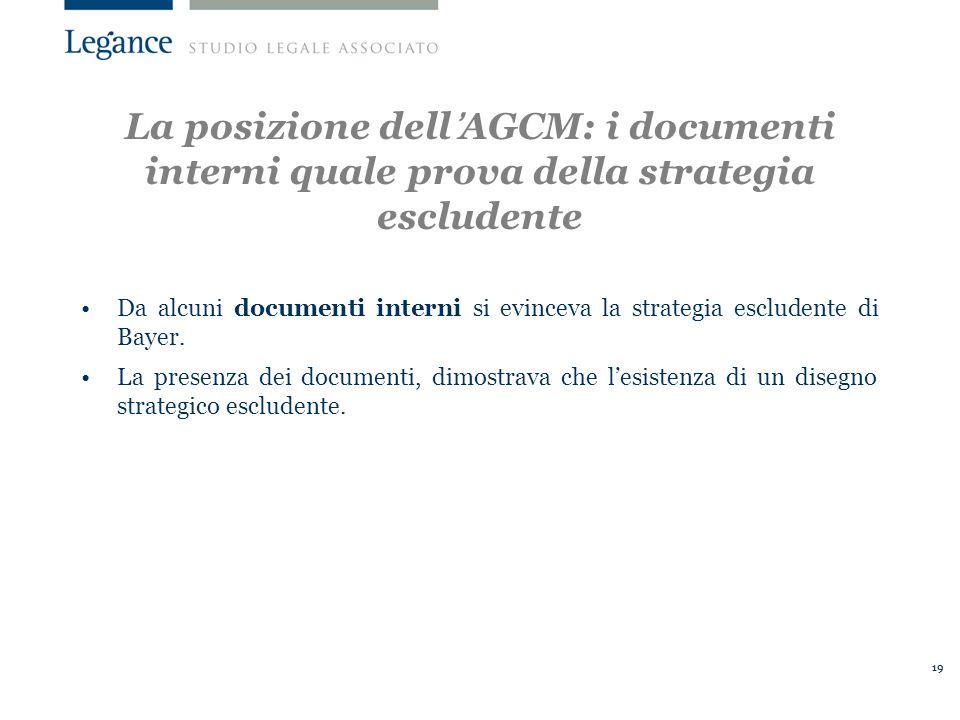 La posizione dell'AGCM: i documenti interni quale prova della strategia escludente