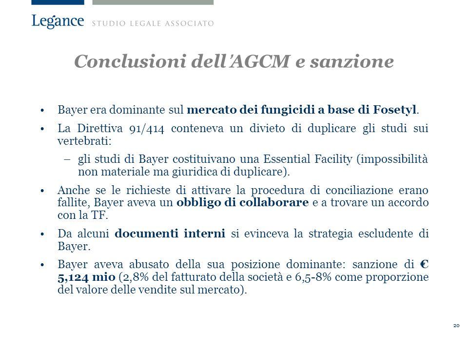 Conclusioni dell'AGCM e sanzione