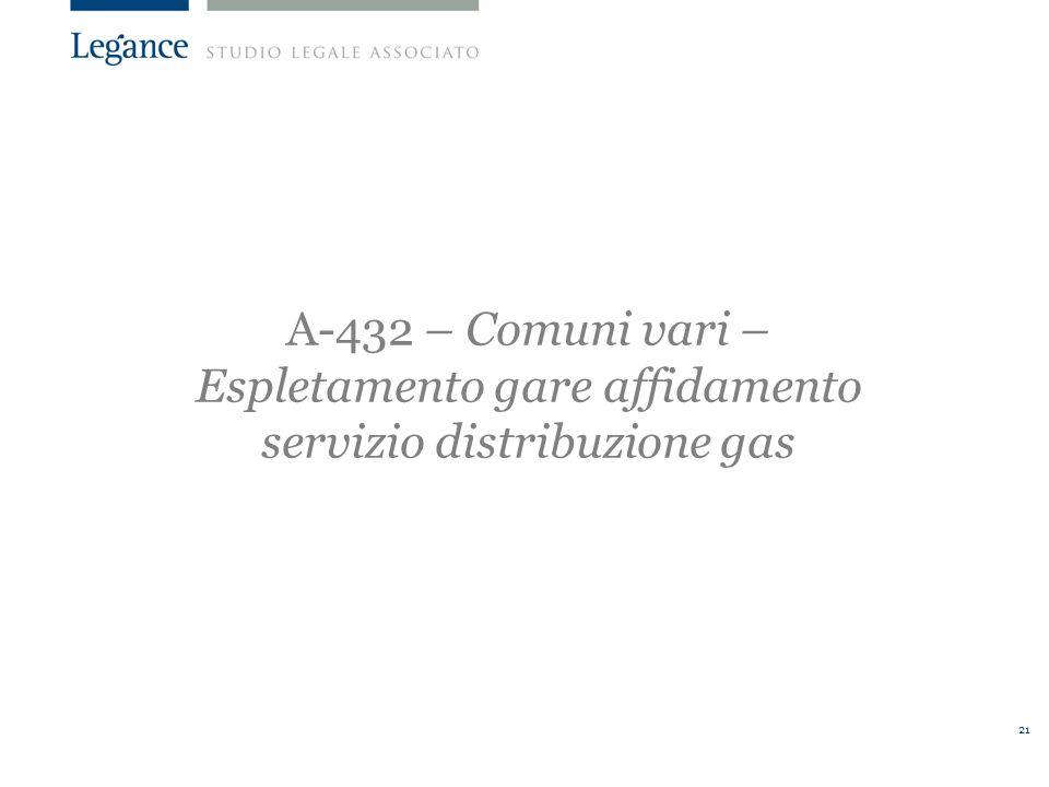 A-432 – Comuni vari – Espletamento gare affidamento servizio distribuzione gas