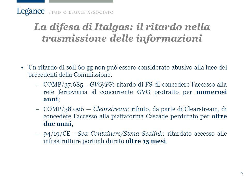 La difesa di Italgas: il ritardo nella trasmissione delle informazioni