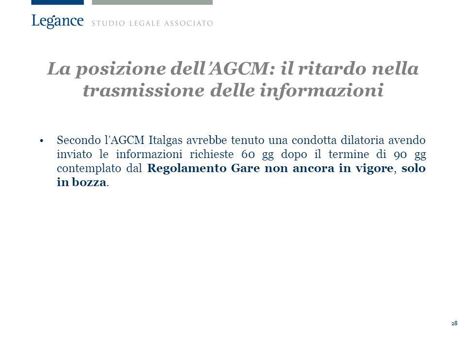 La posizione dell'AGCM: il ritardo nella trasmissione delle informazioni