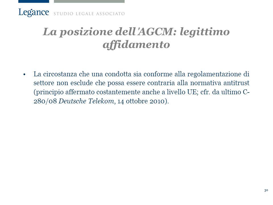 La posizione dell'AGCM: legittimo affidamento