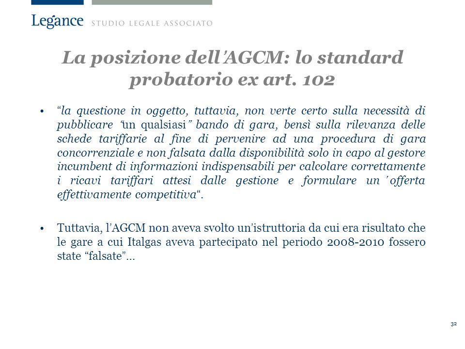 La posizione dell'AGCM: lo standard probatorio ex art. 102