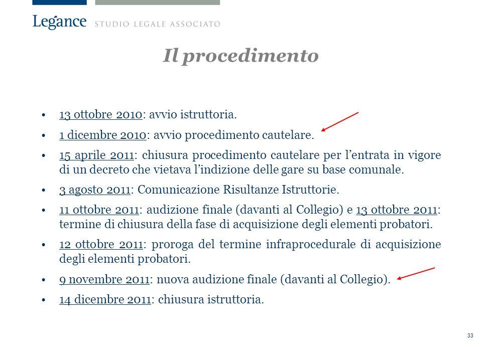 Il procedimento 13 ottobre 2010: avvio istruttoria.