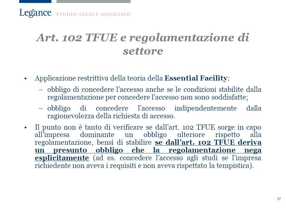Art. 102 TFUE e regolamentazione di settore