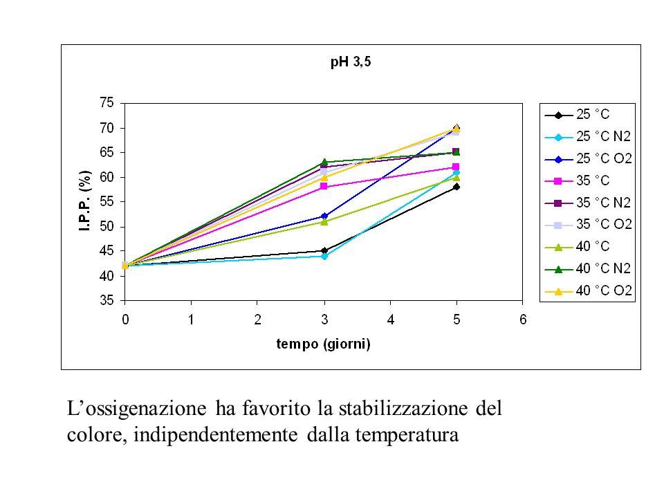 L'ossigenazione ha favorito la stabilizzazione del colore, indipendentemente dalla temperatura