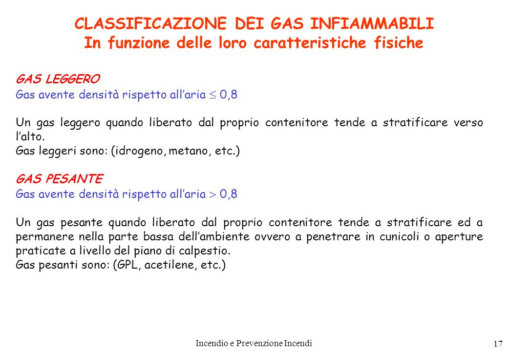 CLASSIFICAZIONE DEI GAS INFIAMMABILI