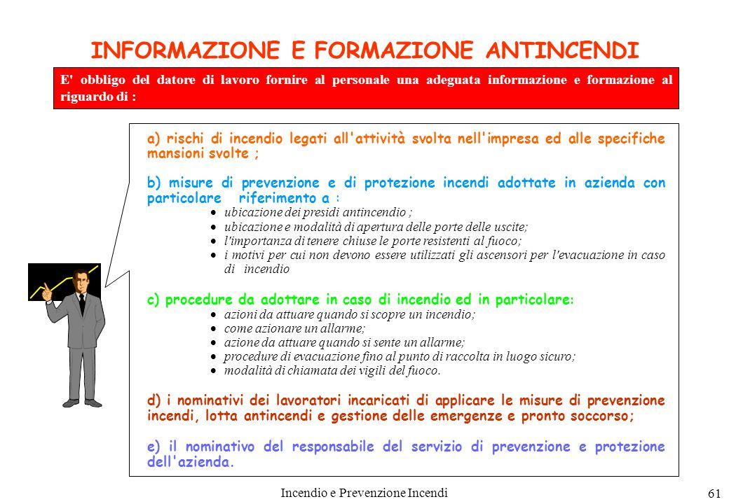 INFORMAZIONE E FORMAZIONE ANTINCENDI
