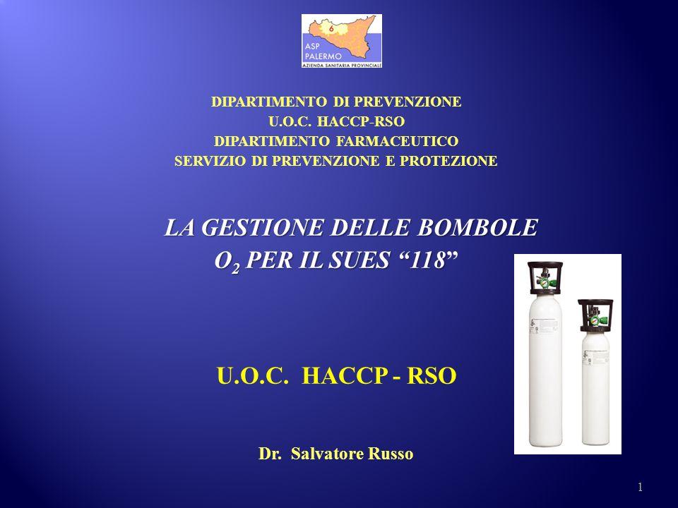LA GESTIONE DELLE BOMBOLE O2 PER IL SUES 118 U.O.C. HACCP - RSO