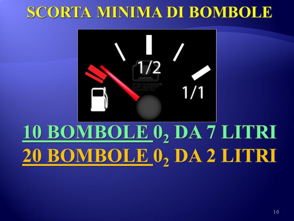 SCORTA MINIMA DI BOMBOLE 10 BOMBOLE 02 DA 7 LITRI 20 BOMBOLE 02 DA 2 LITRI