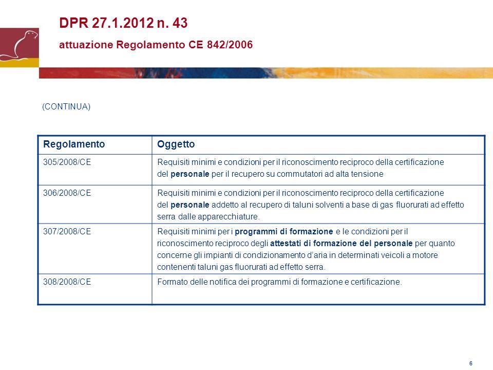 DPR 27.1.2012 n. 43 attuazione Regolamento CE 842/2006