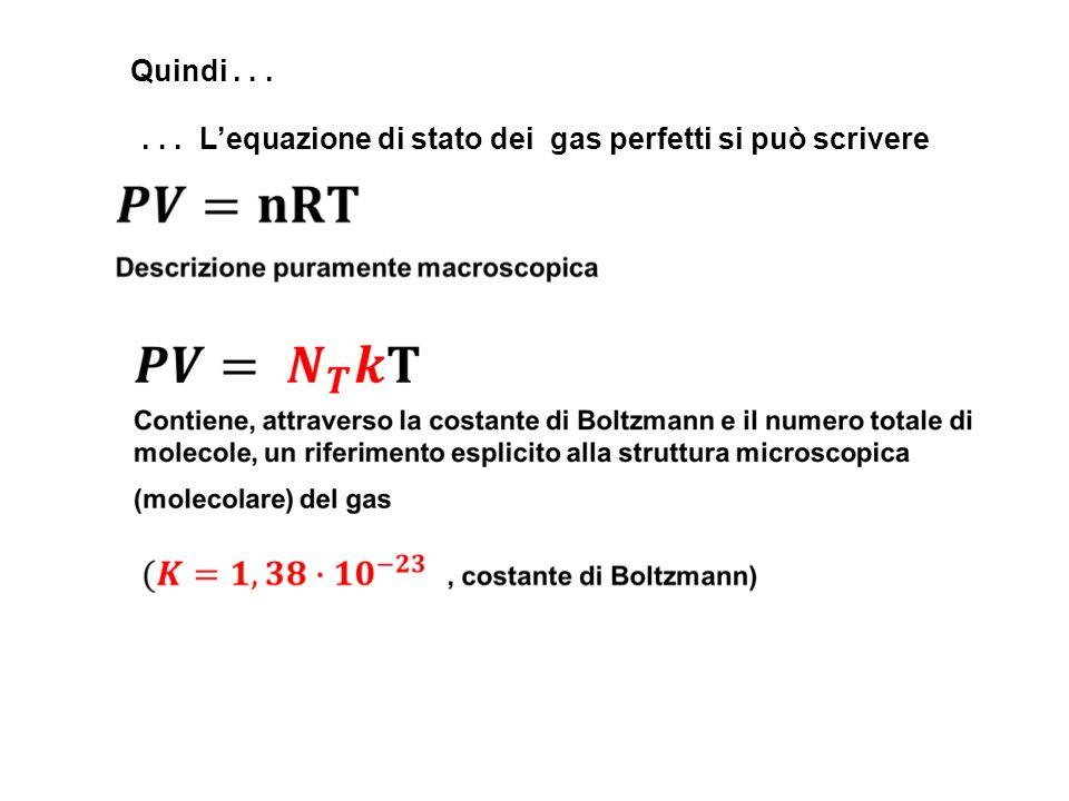 Quindi . . . . . . L'equazione di stato dei gas perfetti si può scrivere