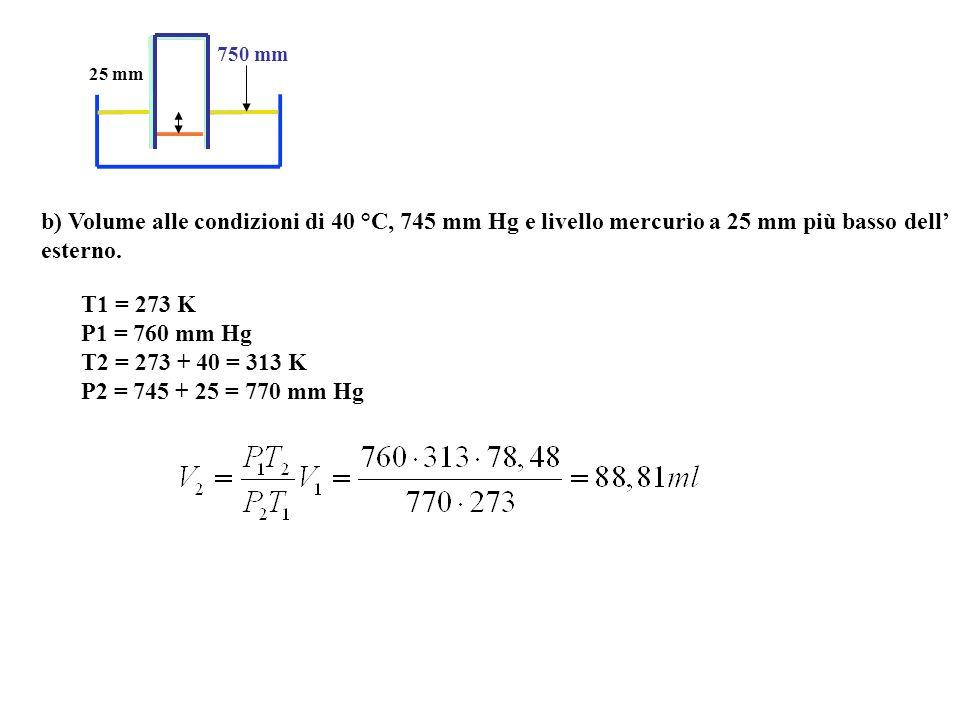 750 mm 25 mm. b) Volume alle condizioni di 40 °C, 745 mm Hg e livello mercurio a 25 mm più basso dell' esterno.