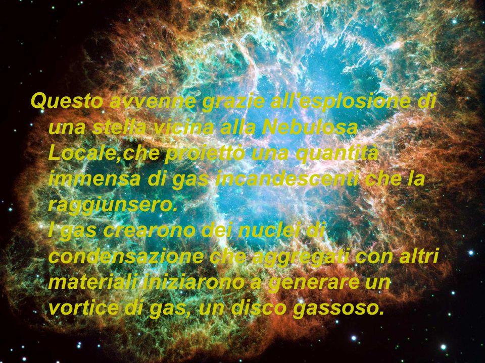 Questo avvenne grazie all esplosione di una stella vicina alla Nebulosa Locale,che proiettò una quantità immensa di gas incandescenti che la raggiunsero.
