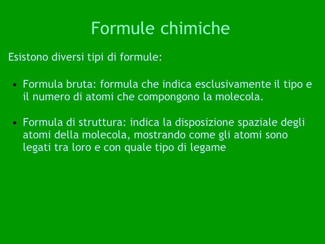 Formule chimiche Esistono diversi tipi di formule: