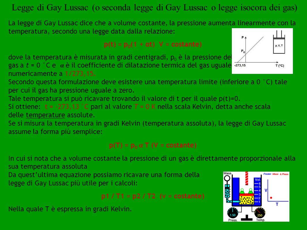 Legge di Gay Lussac (o seconda legge di Gay Lussac o legge isocora dei gas)