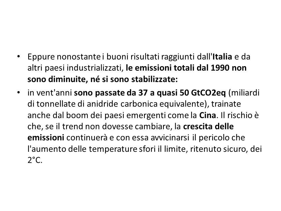 Eppure nonostante i buoni risultati raggiunti dall Italia e da altri paesi industrializzati, le emissioni totali dal 1990 non sono diminuite, né si sono stabilizzate: