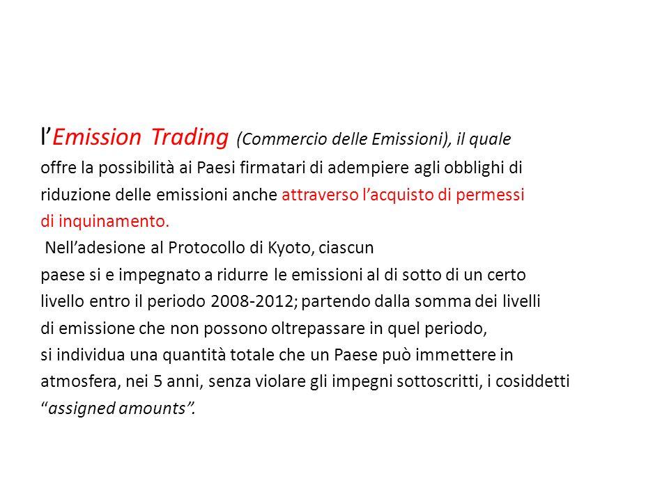 l'Emission Trading (Commercio delle Emissioni), il quale