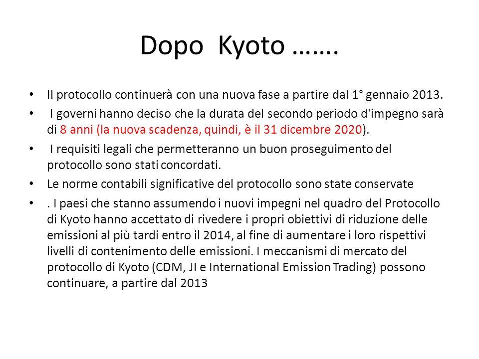 Dopo Kyoto ……. Il protocollo continuerà con una nuova fase a partire dal 1° gennaio 2013.