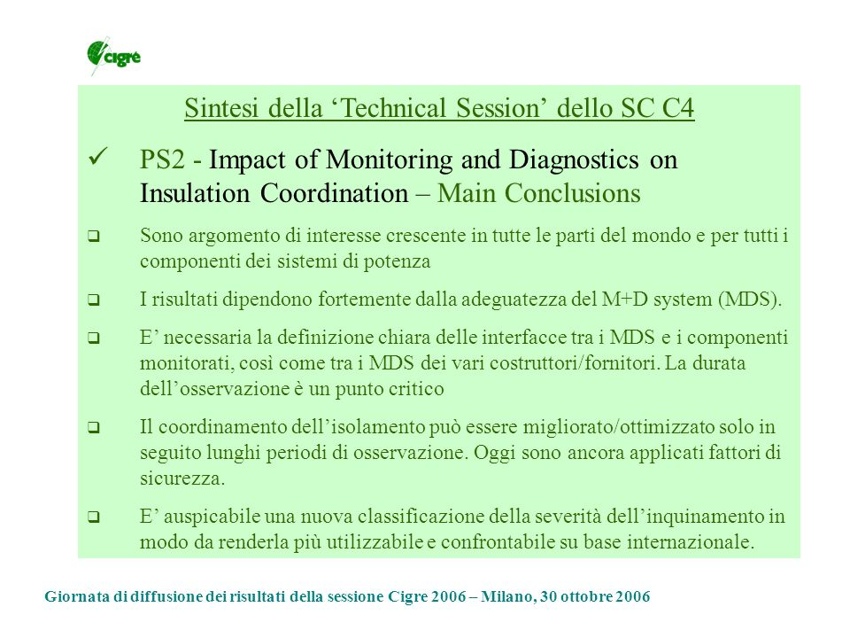 Sintesi della 'Technical Session' dello SC C4