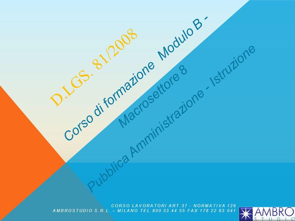 D.Lgs. 81/2008 Corso di formazione Modulo B - Macrosettore 8