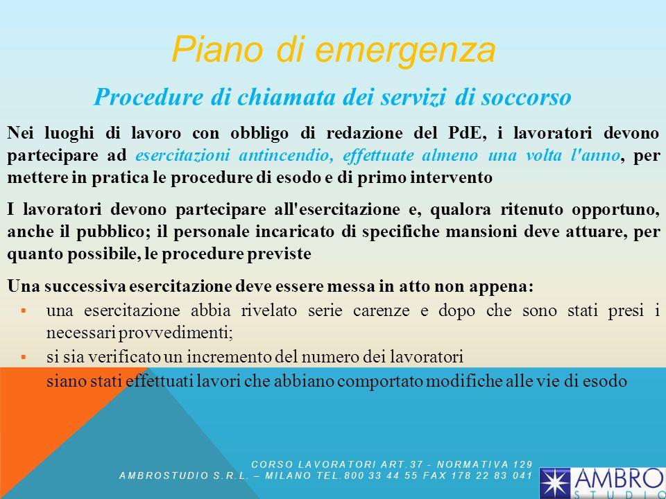 Procedure di chiamata dei servizi di soccorso