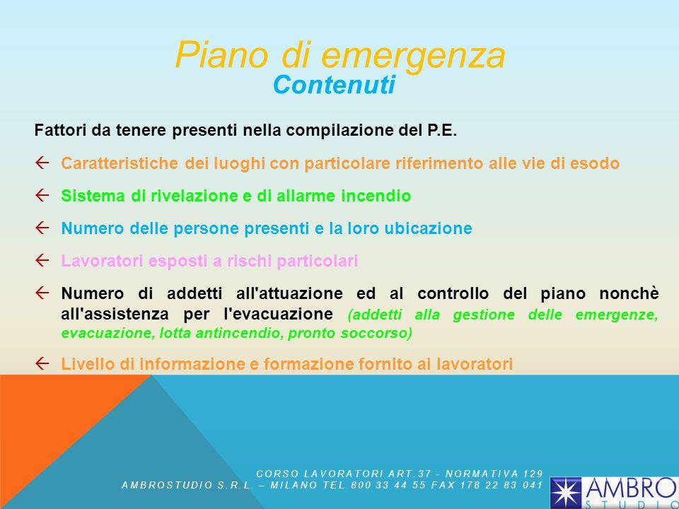 Piano di emergenza Contenuti