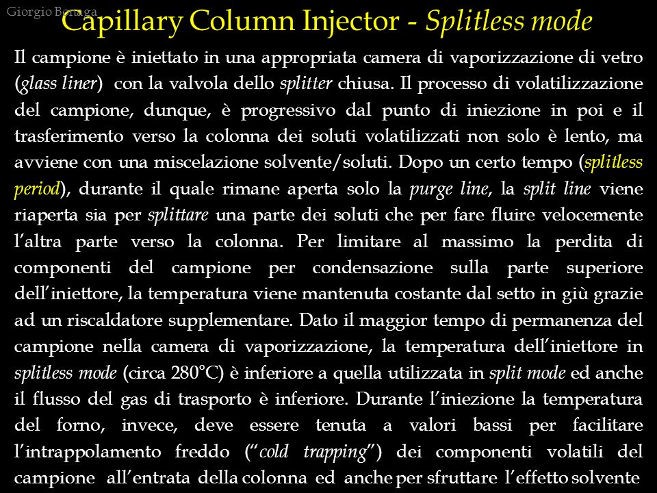 Capillary Column Injector - Splitless mode
