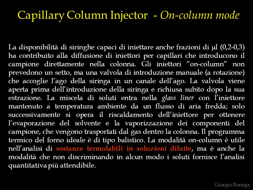 Capillary Column Injector - On-column mode