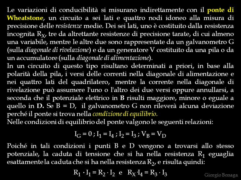 Le variazioni di conducibilità si misurano indirettamente con il ponte di Wheatstone, un circuito a sei lati e quattro nodi idoneo alla misura di precisione delle resistenze medie. Dei sei lati, uno è costituito dalla resistenza incognita RX, tre da altrettante resistenze di precisione tarate, di cui almeno una variabile, mentre le altre due sono rappresentate da un galvanometro G (sulla diagonale di rivelazione) e da un generatore V costituito da una pila o da un accumulatore (sulla diagonale di alimentazione).