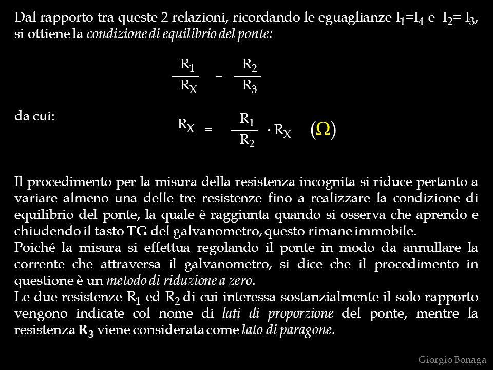 Dal rapporto tra queste 2 relazioni, ricordando le eguaglianze I1=I4 e I2= I3, si ottiene la condizione di equilibrio del ponte: