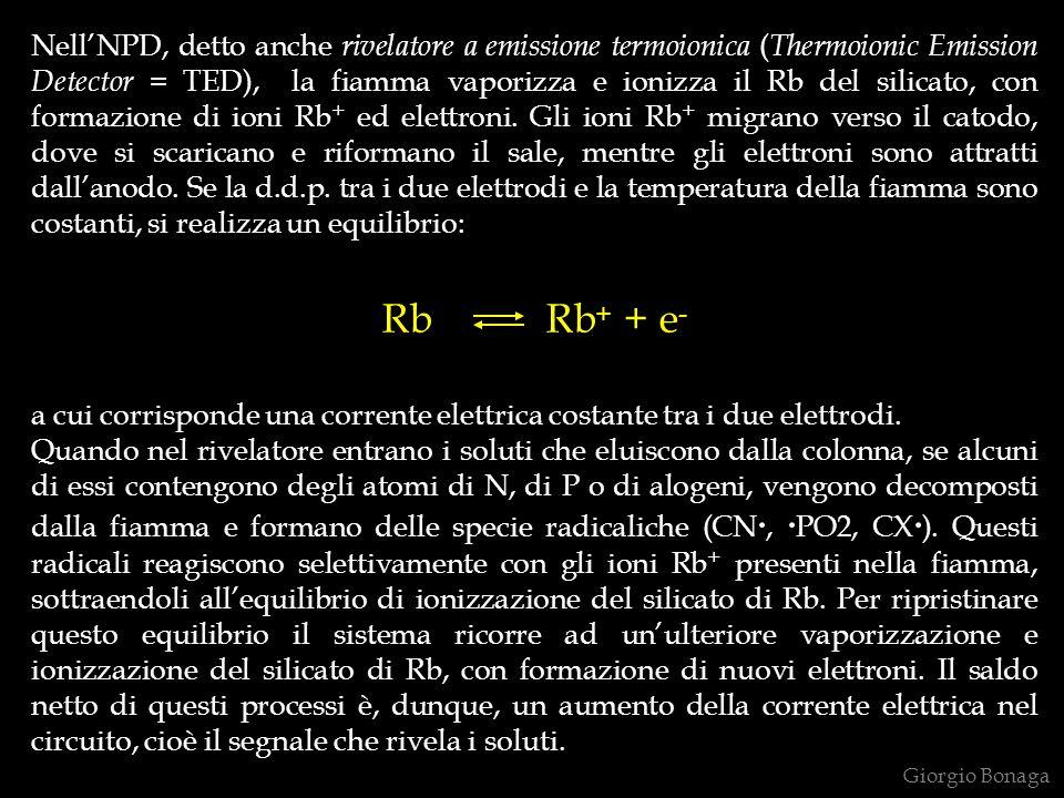 Nell'NPD, detto anche rivelatore a emissione termoionica (Thermoionic Emission Detector = TED), la fiamma vaporizza e ionizza il Rb del silicato, con formazione di ioni Rb+ ed elettroni. Gli ioni Rb+ migrano verso il catodo, dove si scaricano e riformano il sale, mentre gli elettroni sono attratti dall'anodo. Se la d.d.p. tra i due elettrodi e la temperatura della fiamma sono costanti, si realizza un equilibrio: